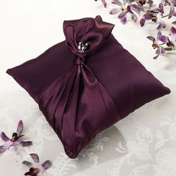 Wedding accessories, plum satin ring pillow lg