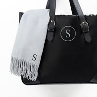 Buckle tote and personalized scarf